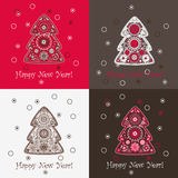 Christmas tree set. Set of four festive backgrounds with decorative Christmas tree pattern Royalty Free Stock Photography