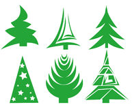 Christmas tree set. On white Royalty Free Stock Images