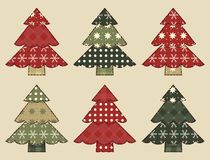 Christmas tree  set 3. Christmas tree set for scrapbooking. Illustration in the style of patchwork Stock Photography