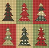Christmas tree  set 7. Christmas tree set for scrapbooking. Illustration in the style of patchwork Stock Photography