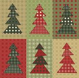 Christmas tree  set 8. Christmas tree set for scrapbooking. Illustration in the style of patchwork Stock Image