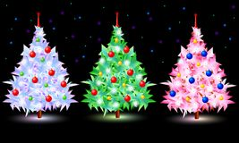 Christmas tree set on black. Decorative objects for christmas card design Royalty Free Stock Photo
