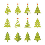 Christmas tree set. Set of bright green christmas, fir and spruce trees icons, symbols and logos  on white background Stock Image