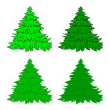 Christmas tree set, cartoon design for card,  icon, symbol. Winter vector illustration isolated on white background. Royalty Free Stock Images