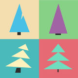 Christmas tree set. Cartoon vintage style. Happy New Year Stock Images