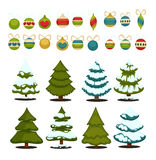 Christmas tree Set of christmas green trees and decoration ball. Stock Photos