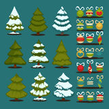 Christmas tree Set of christmas green trees and decoration ball. Royalty Free Stock Image