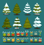 Christmas tree Set of christmas green trees and decoration ball. Royalty Free Stock Photography