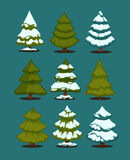 Christmas tree Set of christmas green trees. Royalty Free Stock Photos