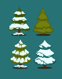 Christmas tree Set of christmas green trees. Winter christmas tree holiday design elements: xmas fir with snow. Christmas tree Cartoon style. Isolated vector Stock Image