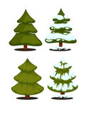 Christmas tree Set of christmas green trees. Winter christmas tree holiday design elements: xmas fir with snow. Christmas tree Cartoon style. Isolated vector Royalty Free Stock Image