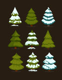 Christmas tree Set of christmas green trees. Winter christmas tree holiday design elements: xmas fir with snow. Christmas tree Cartoon style. Isolated vector Stock Photos