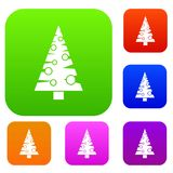 Christmas tree set collection. Christmas tree set icon in different colors isolated vector illustration. Premium collection Stock Photography