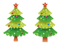 Vector Christmas tree set. Vector decorated christmas tree set isolated on white background Stock Photo