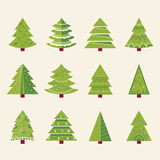 Christmas tree set with decoration. happy new year. Stock Photo
