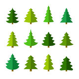 Christmas tree set. Different shapes. Isolated on white background. Flat style vector illustration Royalty Free Stock Images