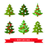 Christmas tree set. Different shapes. Isolated on white background. Flat style vector illustration Stock Image
