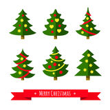 Christmas tree set. Different shapes.  on white background. Flat style vector illustration Royalty Free Stock Photography