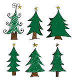 Christmas tree set. Drawing style for christmas kids style Royalty Free Stock Photos