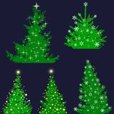 Christmas tree set, elements for design. 2d Stock Photo