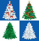 Christmas tree set,four type trees Stock Image