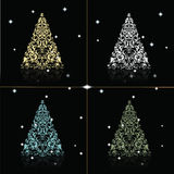 Christmas Tree set in golden black background. Christmas Tree set in gold, silver, blue and green colors. Vector Stock Photo