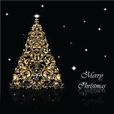 Christmas Tree set in golden black background Stock Photos