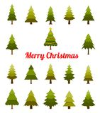 Christmas tree set. Green Spruce in a flat style. Can be used for greeting card, invitation, banner, web design Royalty Free Stock Photo