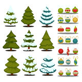 Christmas tree Set of  green trees and decoration ball. Royalty Free Stock Photos