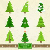 Christmas Tree Set of Icons on Vector Illustration. Christmas tree set of icons, creative posters with evergreen symbols of holiday with funny smiles and eyes on Royalty Free Stock Images