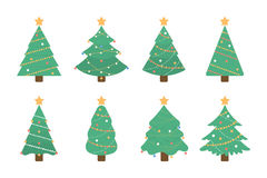 Christmas tree set. Isolated green tree illustartion with decorative toys and stars on white background Stock Photography