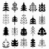Christmas tree set isolated on white background. Black and white colors. New year symbols. Vector illustration. Stock Image