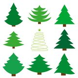 Christmas tree. A set of nine fir. Vector Stock Photos