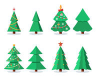 Christmas tree set. Sign with toy and candy. Vector flat illustration icon isolated on white background Stock Image