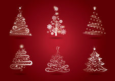 Christmas tree set. A set of six different Christmas trees for greeting, holiday cards, posters, web banners, etc Stock Photos