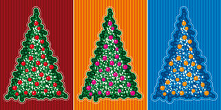 Christmas tree. The set of stylized Christmas Trees royalty free illustration
