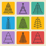 Christmas tree set. Three black thin line icon set on a color square Stock Image