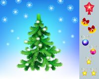 Christmas tree with a set of toys for decoration,vector.New Year greeting card stock images
