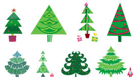 Christmas tree - set of vector. 8 different isolated christmas trees  - design elements Royalty Free Stock Photography