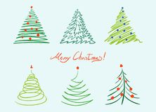 Christmas tree set. Vector hand drawn simple illustration Royalty Free Stock Photos