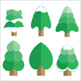 Christmas tree set, vector illustration. Royalty Free Stock Images
