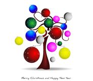 Christmas tree, sets, balls, christmas, christmas. Abstract illustration with christmas tree and decorated with colored balls Stock Photo