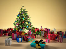 Christmas tree with several gifts Royalty Free Stock Images