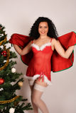 Sexy Christmas girl and tree Royalty Free Stock Photos