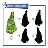 Christmas tree shadow. Vector illustration of educational shadow matching game with cartoon christmas tree for children Royalty Free Stock Photo
