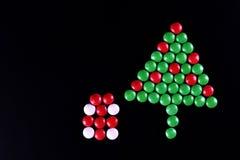 Christmas tree shape candy background Stock Photo