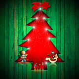 Christmas Tree Shape cut on Green Wall Royalty Free Stock Photos