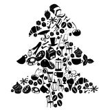 Christmas tree shape dessert pattern with cafe and food objects. Royalty Free Stock Photography