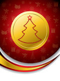 Christmas tree shape on gold medal Stock Images