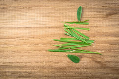 Christmas tree shape by grass on wooden wall. Royalty Free Stock Photos